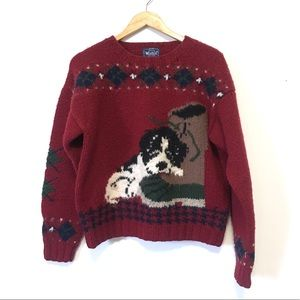 Vintage Woolrich Chunky Knit Sweater Puppy Dog M